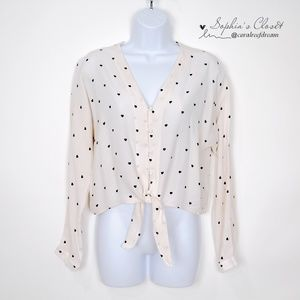 Rails Women's Heart Print Tie Front Top Size S
